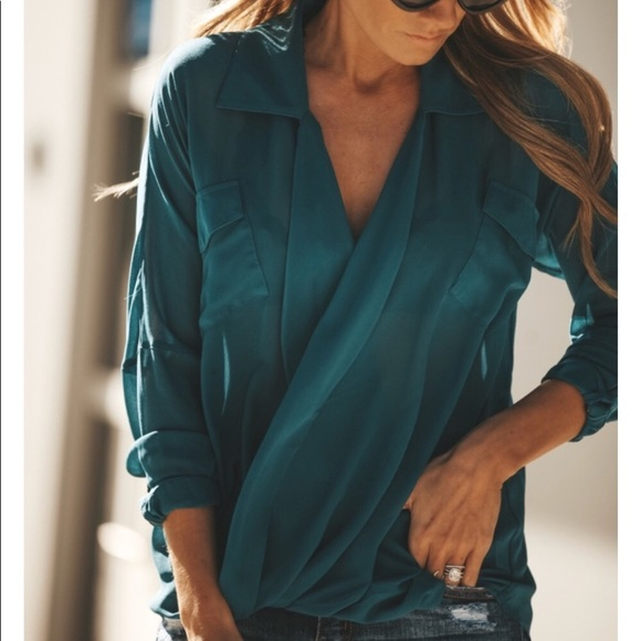 2c4f37fc69500 NWT Sheer Teal Blouse from Vici